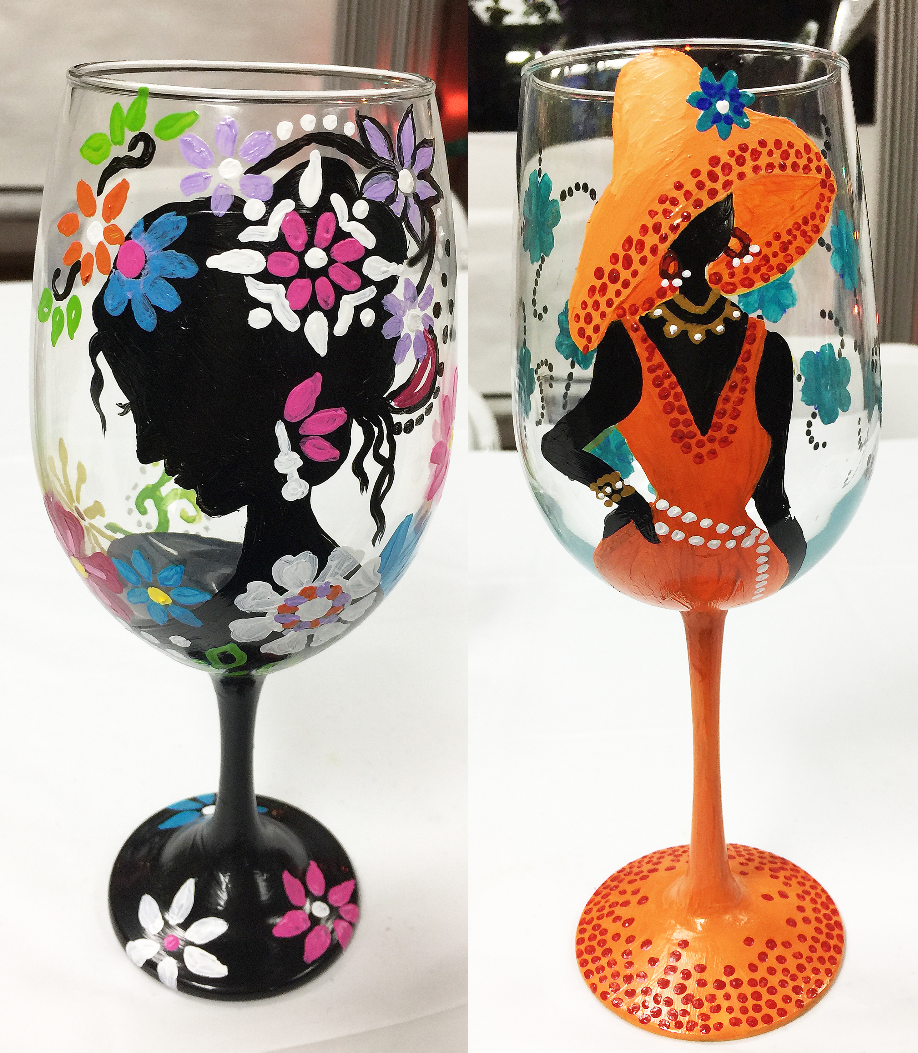 Wine glass painting party ideas pictures to pin on for How to paint glass painting