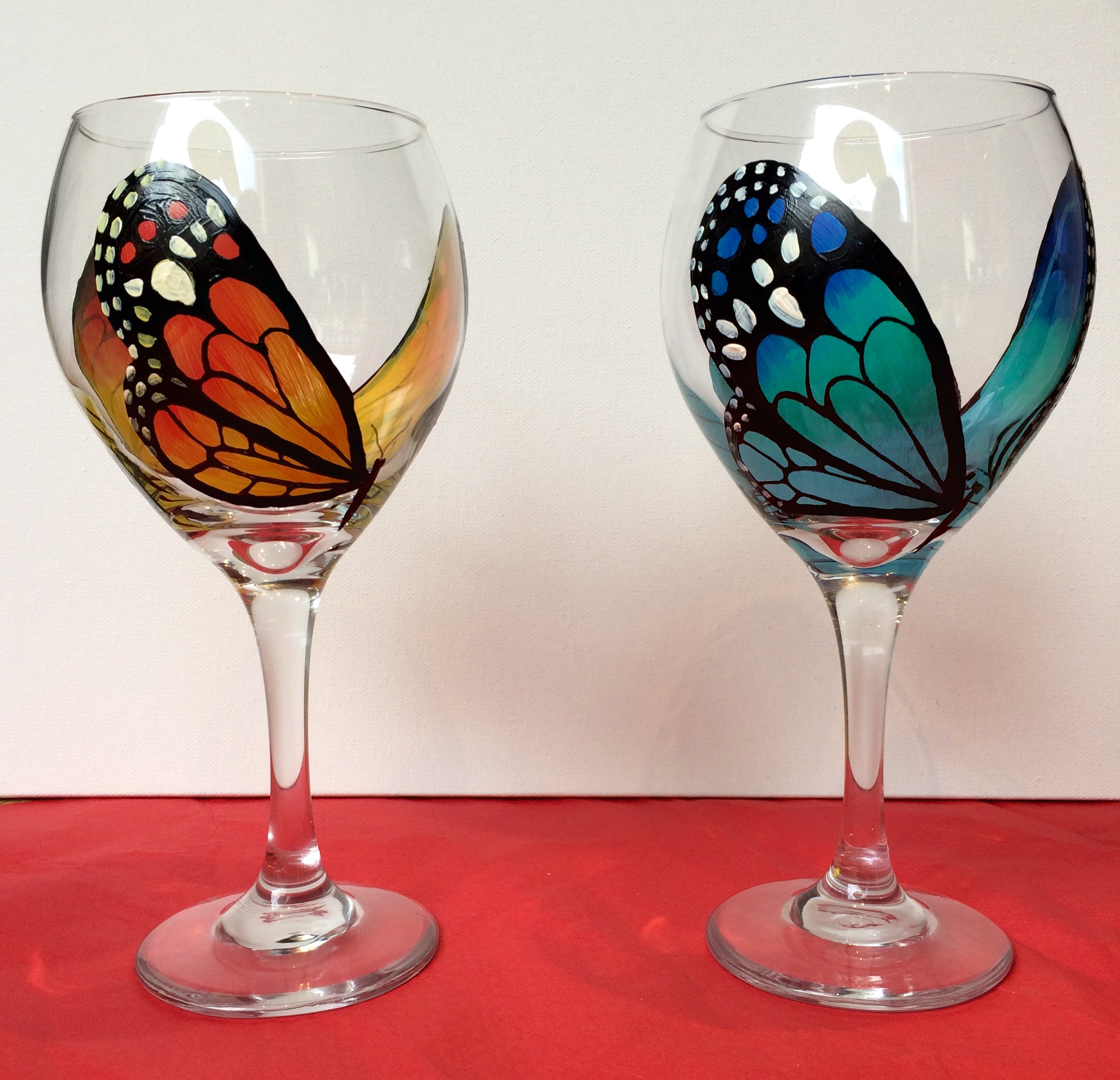 Butterfly wine glasses paint fun studio for Type of paint to use on wine glasses